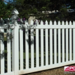 Colonial Picket Fence in White with Gothic Caps