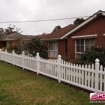 Sierra Picket Fence in White with Gothic Caps