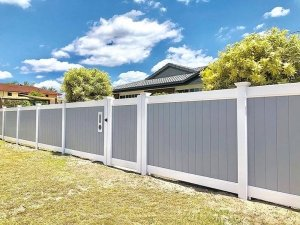Grey & White Full Privacy Fence