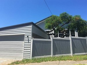Grey & White Stepped Full Privacy Fence
